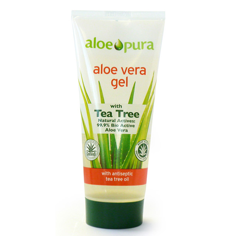 aloe pura organic aloe vera gel with tea tree 200ml ebay. Black Bedroom Furniture Sets. Home Design Ideas